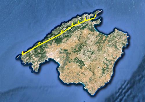 Visión del recorrido de la Kundalini de Mallorca a lo largo de la sierra de Tramontana. Penetra por la isla de la Dragonera y sale por la bahía de Pollensa