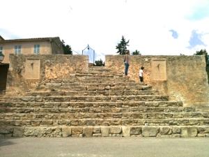 El oratorio de Sant Joan, en el centro de Mallorca es un sitio muy agradable para visitar. Tiene algunos detalles, como esta escalinata de forma piramidal, que llaman nuestra atención.