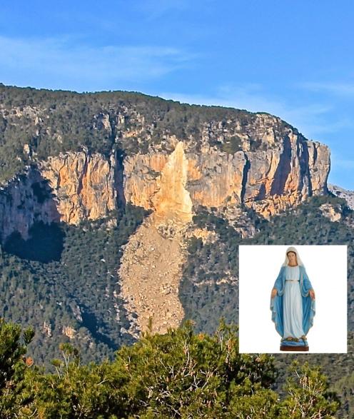 La avalancha de piedras ocurrida en 2008 reveló una imagen que nos recuerda a una virgen con su manto