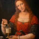 c. 1515-1524 María Magdalena suele representarse vestida en color rojo. Una tradición ortodoxa relata que tras la Ascensión, María Magdalena fue a Roma a predicar el evangelio. En presencia del emperador romano Tiberio, y sosteniendo un huevo de gallina, exclamó: «¡Cristo ha resucitado!». El emperador se rió y le dijo que eso era tan probable como que el huevo se volviera rojo. Antes de que acabara de hablar el huevo se había vuelto rojo.